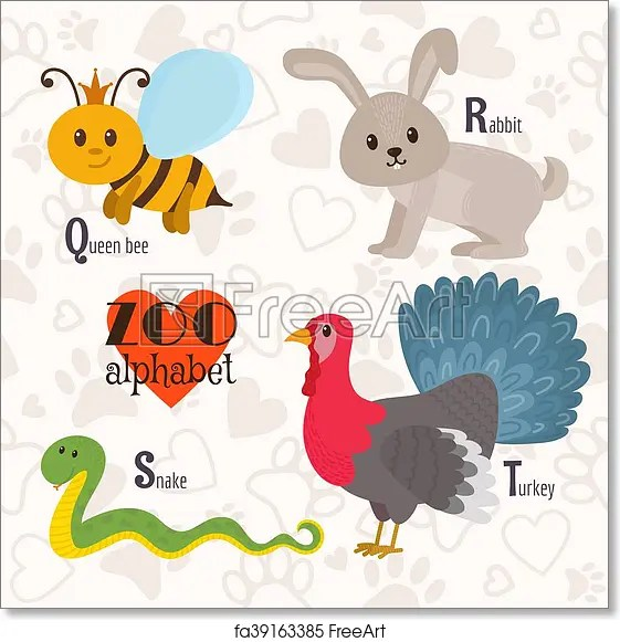 Image of: Funny Cartoon Zoo Alphabet With Funny Animals Q R S Letters Queen Bee Rabbit Snake Turkey Vector Illustration Freeart Free Art Print Of Zoo Alphabet With Funny Animals Q R S