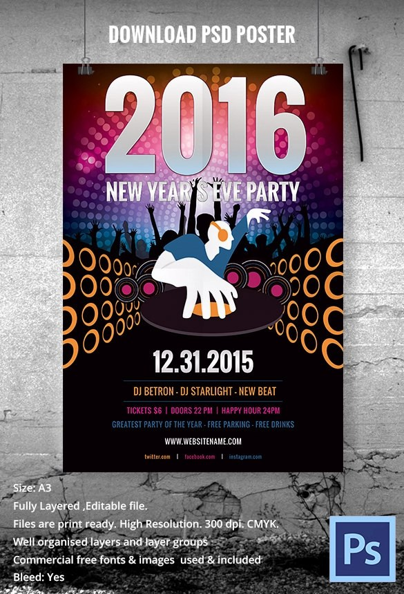 Free PSD New Year Party Poster Designs   FreeCreatives New Year Eve DJ Party Poster  NewYearEvePartyDJ Poster