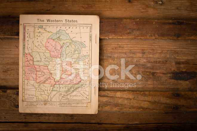 1867  Color Map of Western United States  With Copy Space Stock     1867  Color Map of Western United States  With Copy Space