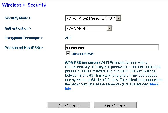 Wireless Security Key Not Correct