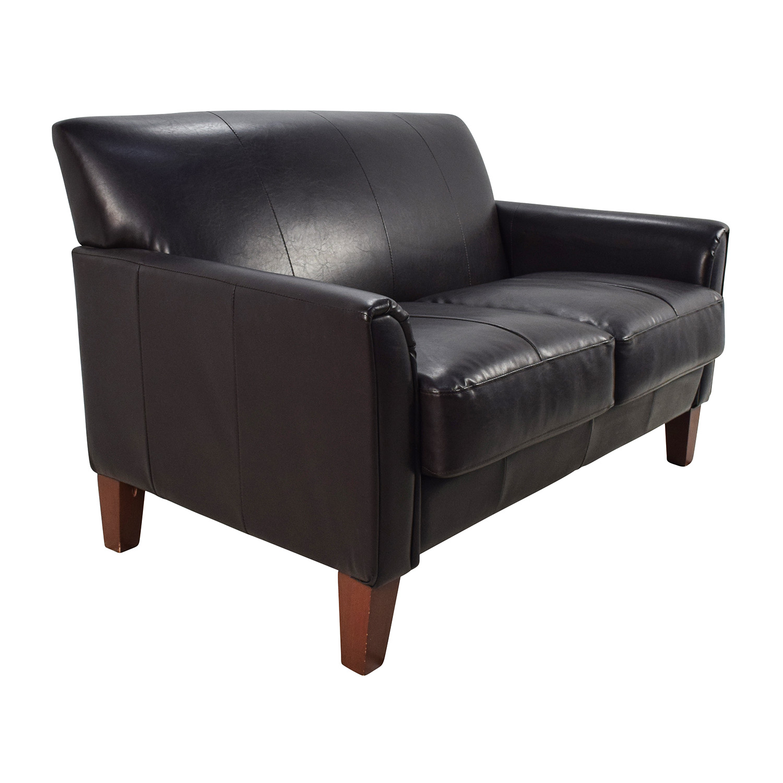 53 Off Black Leather Loveseat Sofas