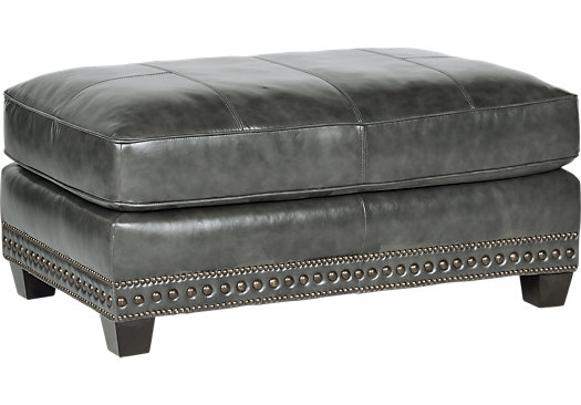 Gray Leather Ottoman Storage