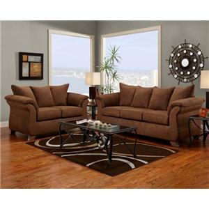 Transitional Flared Pillow Arm Stationary Loveseat   6700 by     Affordable Furniture 6700 Transitional Flared Pillow Arm Stationary Loveseat