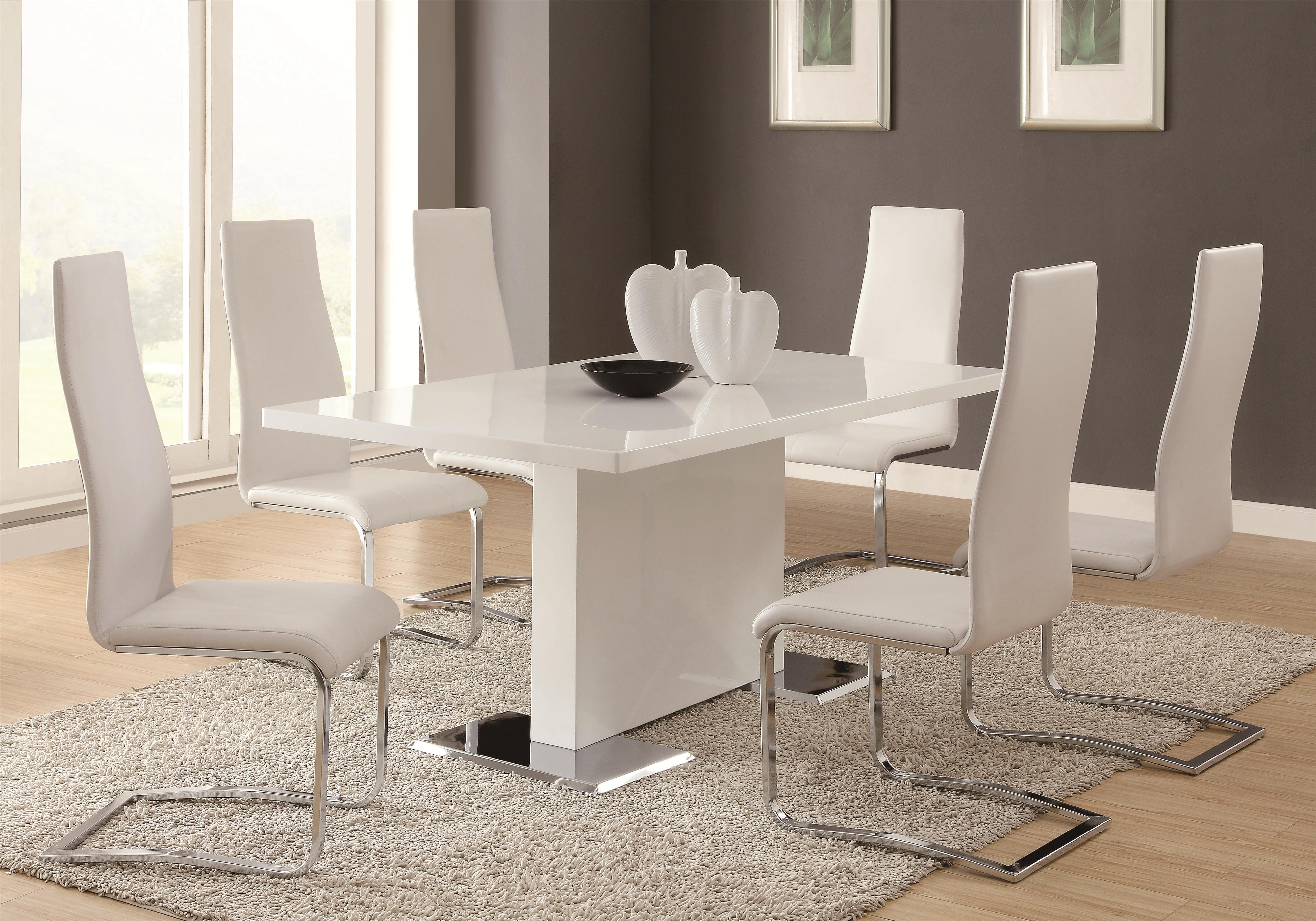 Coaster Modern Dining 7 Piece White Table   White Upholstered Chairs     Coaster Modern Dining 7 Piece Table   Chair Set   Item Number   102310 6x100515WHT