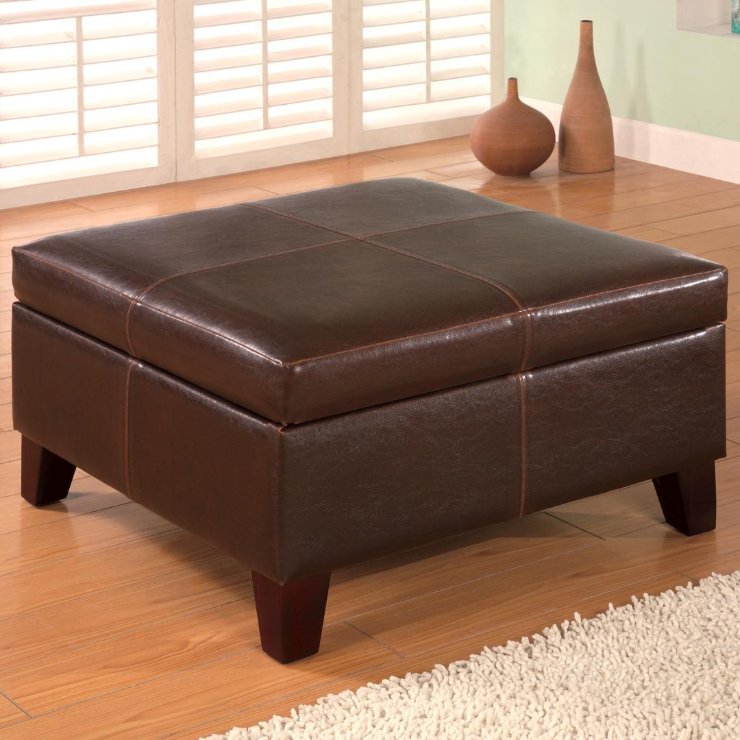 Square Leather Storage Ottoman