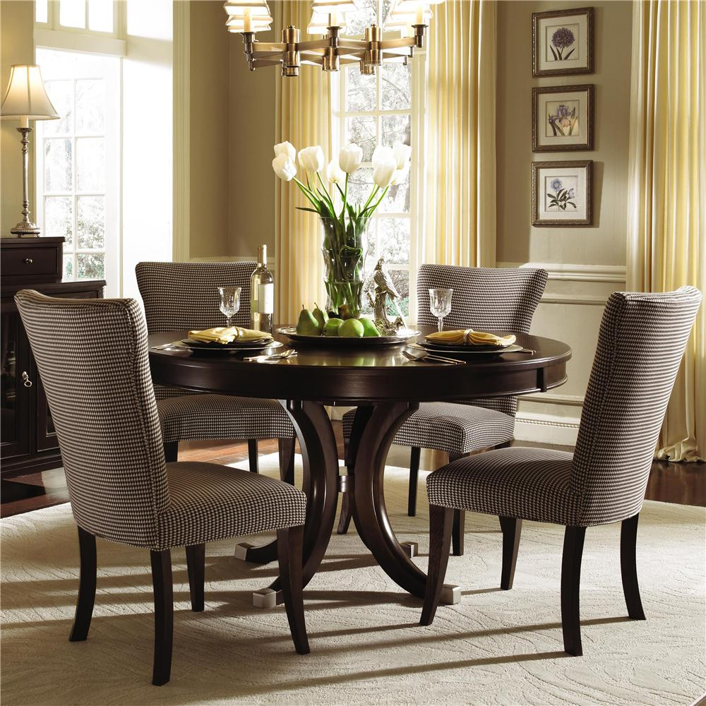 Kincaid Furniture Alston Round Dining Table   Four Upholstered Side     Kincaid Furniture Alston Round Dining Table   Four Upholstered Side Chairs    AHFA   Dining 5 Piece Set Dealer Locator