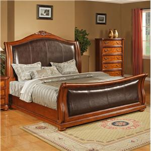 Lifestyle 0243 CA King Faux Leather Upholstered Sleigh Bed with     Lifestyle 0243 King Size Upholstered Sleigh Bed