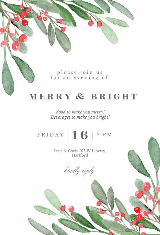Holidays Greenery Christmas Invitation Template Free