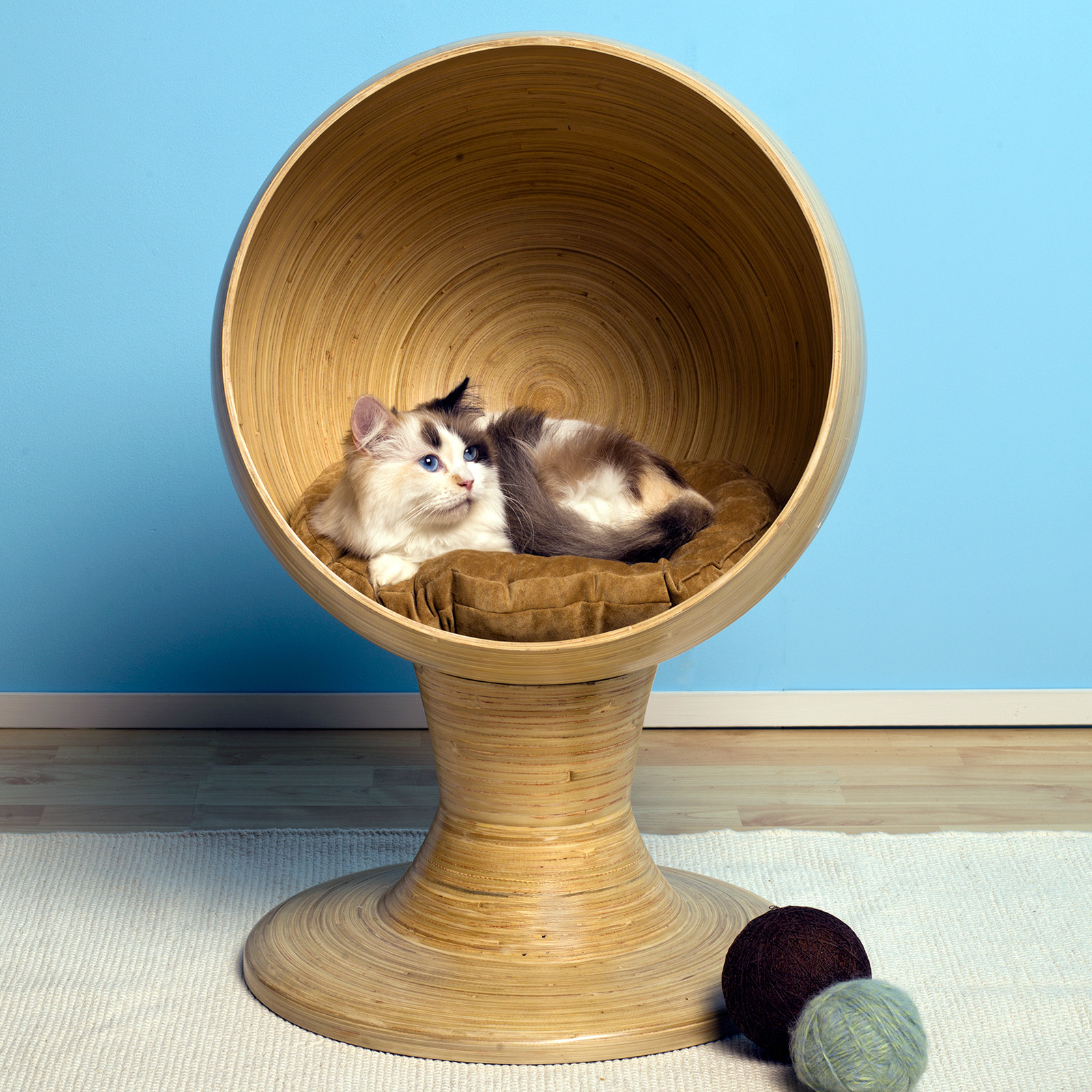 Refined Feline Bamboo Kitty Ball Bed At Hayneedle