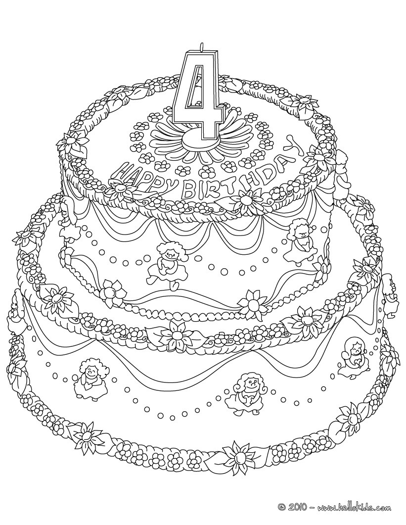 Birthday Cake 9 Years Coloring Pages Hellokids