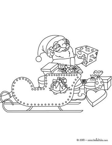 santa sleigh coloring page # 44