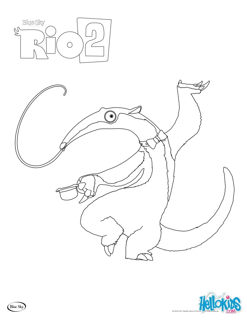 Rio 2 Blu Coloring Pages Hellokids