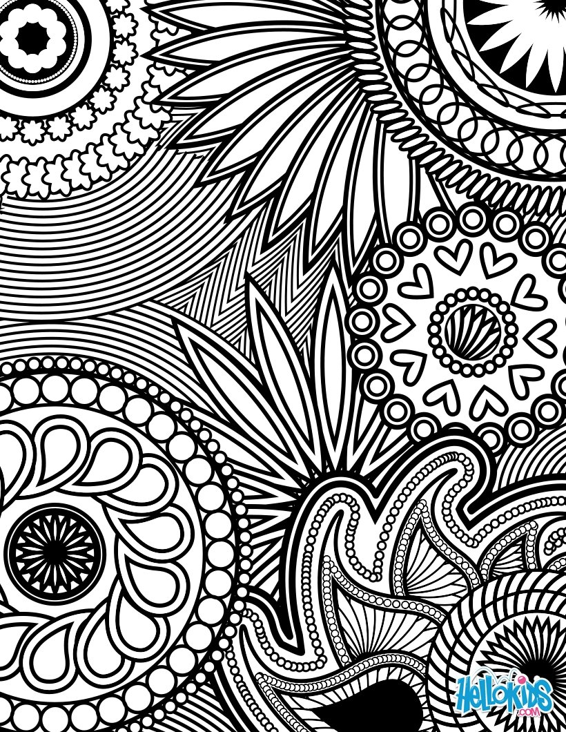 Rosette Intricate Patterns Coloring Pages Hellokids