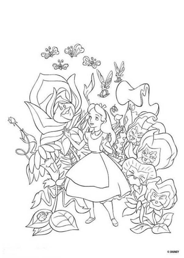 alice in wonderland coloring page # 3