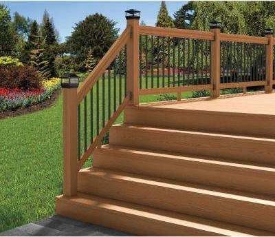 Wood Deck Stair Railings Deck Railings The Home Depot | Wooden Handrails For Outdoor Steps | Wall Mounted Wooden | Porch | Outdoor Garden Path | Outdoor Decking | Small