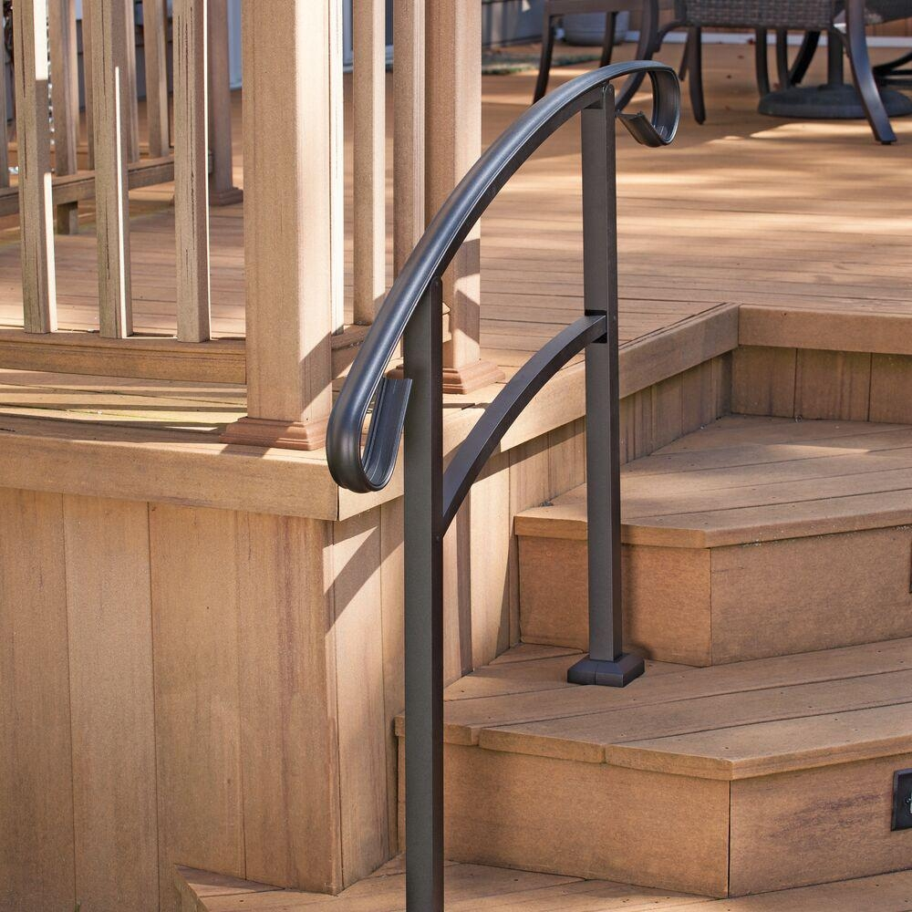 Tuffbilt Handirail 3 57 In X 47 75 In X 3 09 Ft Matte Black 3 | Home Depot Hand Railing Interior | Stair Treads | Staircase | Box Newel Post | Railing Systems | Iron Railings
