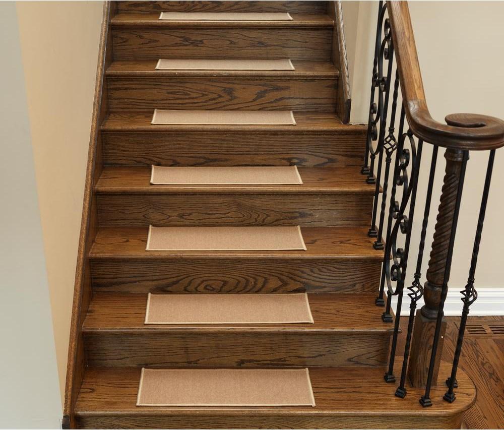 Ottomanson Dark Beige 8 5 In X 26 6 In Non Slip Rubber Back | Home Depot Wood Stair Steps | Carpet | Deck Stairs | Stair Parts | Deck | Oak Stair Nosing