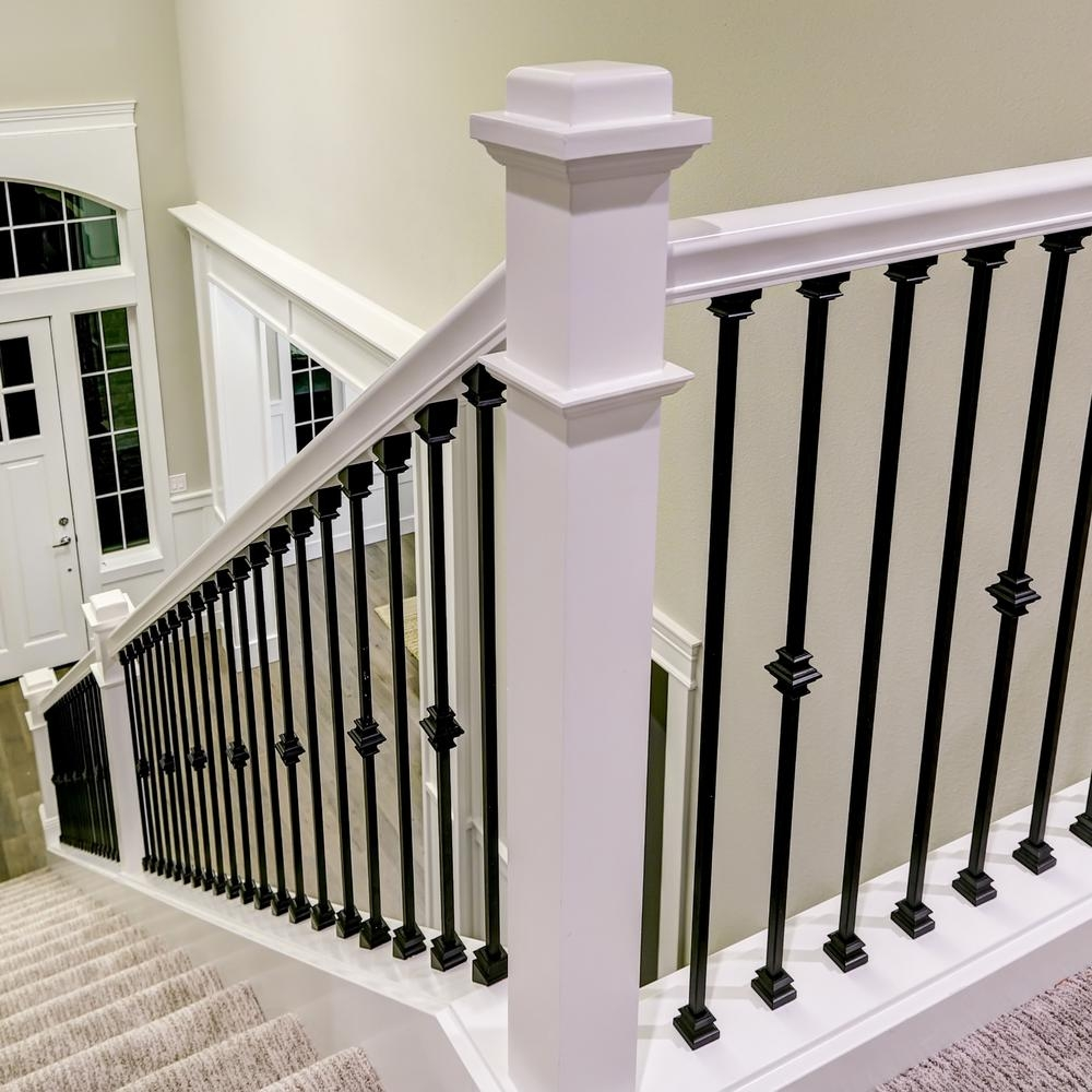Stair Parts 1 2 In Matte Black Metal Angled Baluster Shoe I350B   Installing Wrought Iron Railings On Stairs   Railing Kits   Concrete Steps   Iron Balusters   Outdoor Stair   Stair Spindles