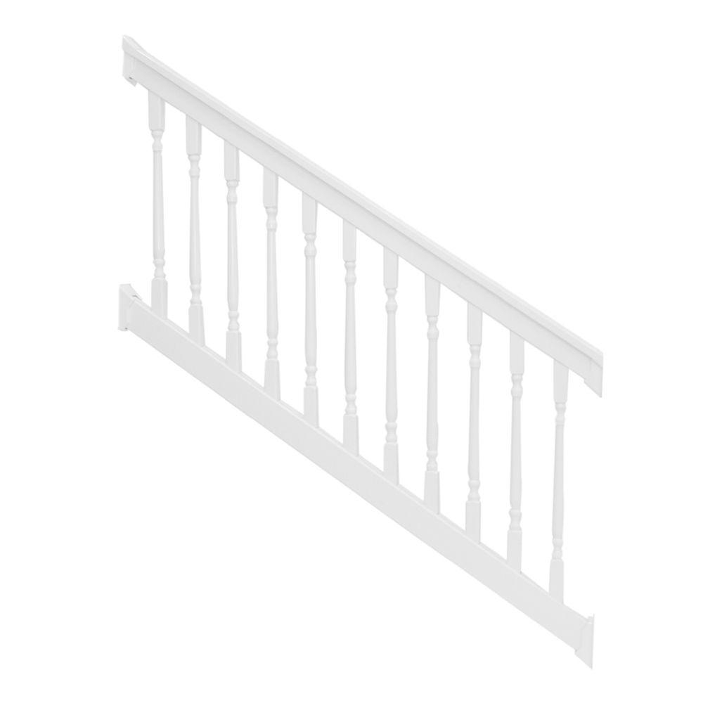 Weatherables Delray 3 5 Ft H X 8 Ft W Vinyl White Stair Railing | Home Depot Railing Spindles | Redwood Deck | Stair Railing | Pressure Treated Lumber | Fence | Stair Parts