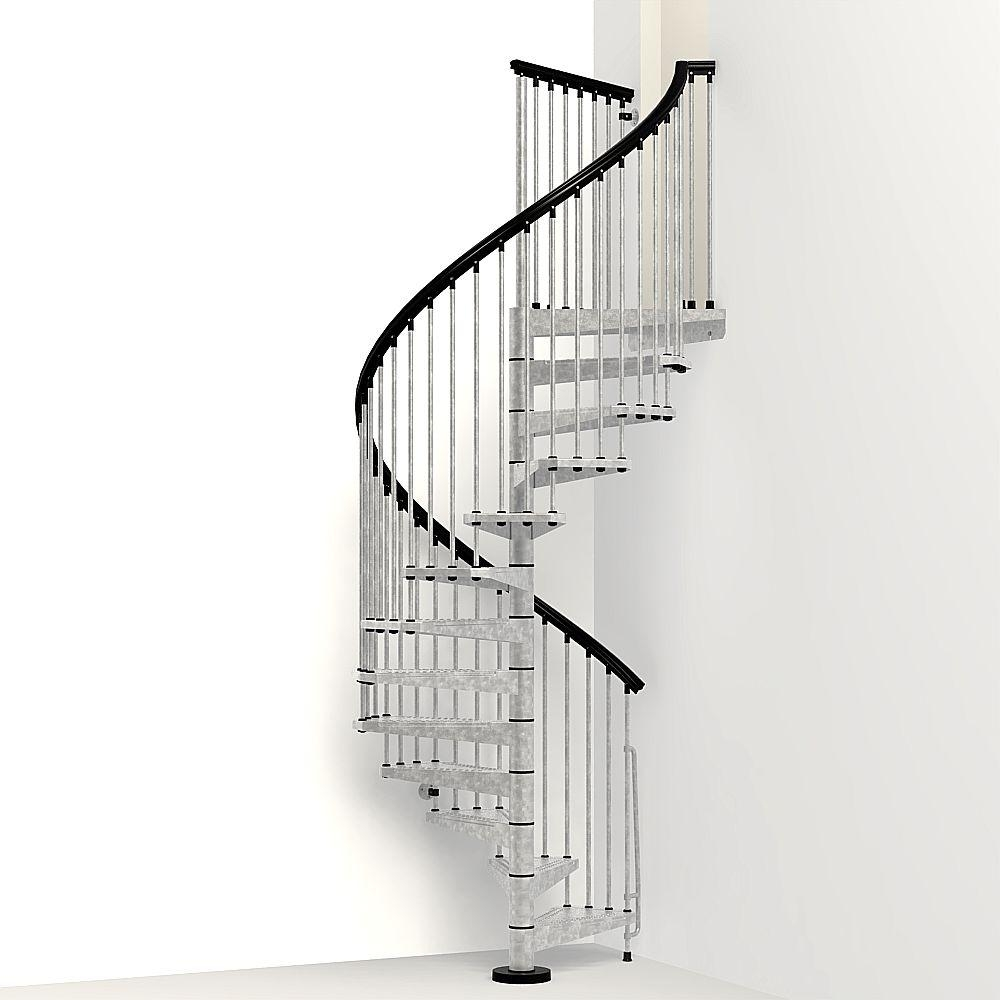 Arke Enduro 63 In Galvanized Steel Spiral Staircase Kit K05003 | Painting Metal Spiral Staircase | Handrail | Iron | Stair Treads | Steel | Staircase Kit