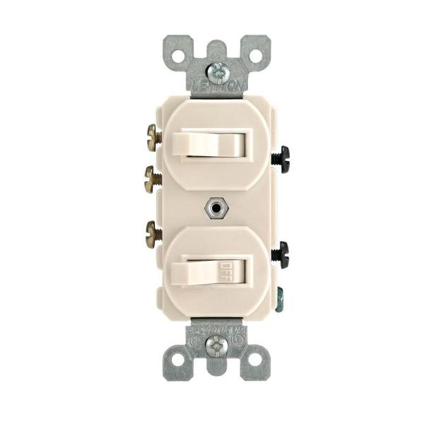 Leviton 15 Amp 3 Way Combination Double Switch  Light Almond R66     Leviton 15 Amp 3 Way Combination Double Switch  Light Almond
