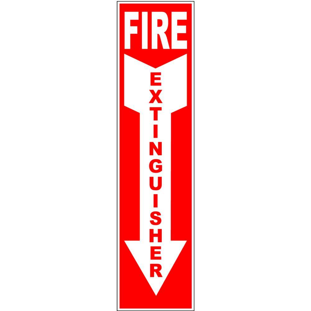 4 in. x 16 in. Fire Extinguisher Arrow Down Vinyl Sticker ...