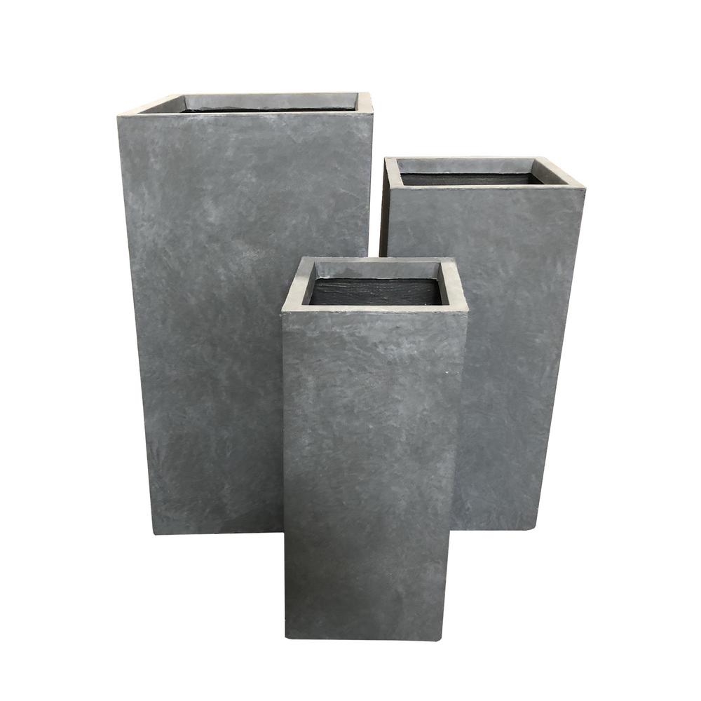 Tall Grey Plant Pots