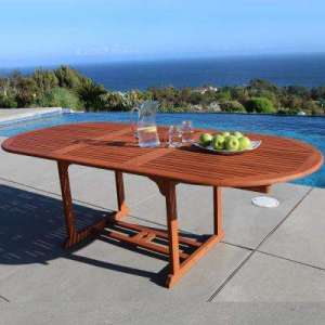 Wood   Patio Dining Tables   Patio Tables   The Home Depot Malibu Oval Extension Outdoor Dining Table