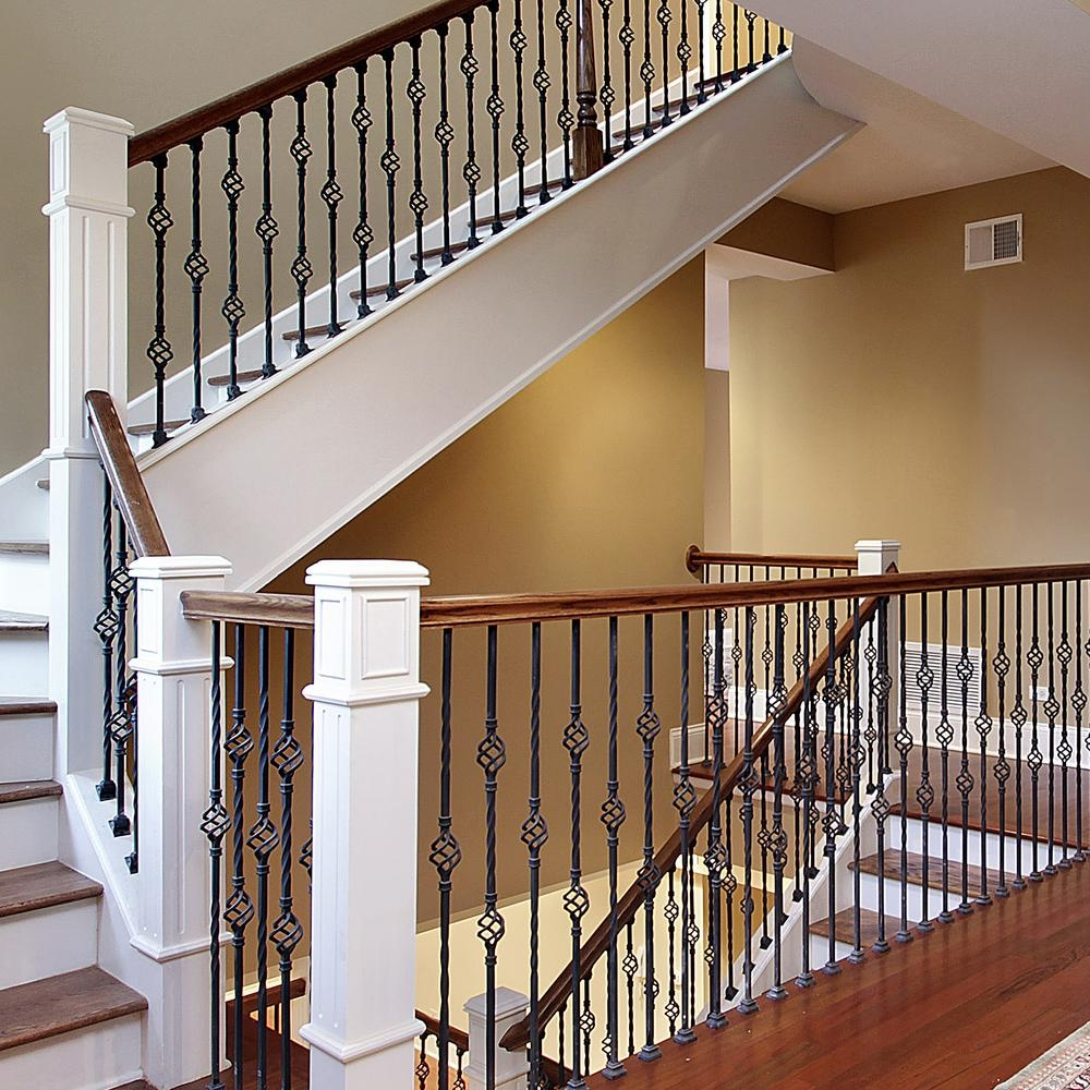 Stair Parts 44 In X 1 2 In Matte Black Metal Double Basket | Home Depot Hand Railing Interior | Stair Treads | Staircase | Box Newel Post | Railing Systems | Iron Railings