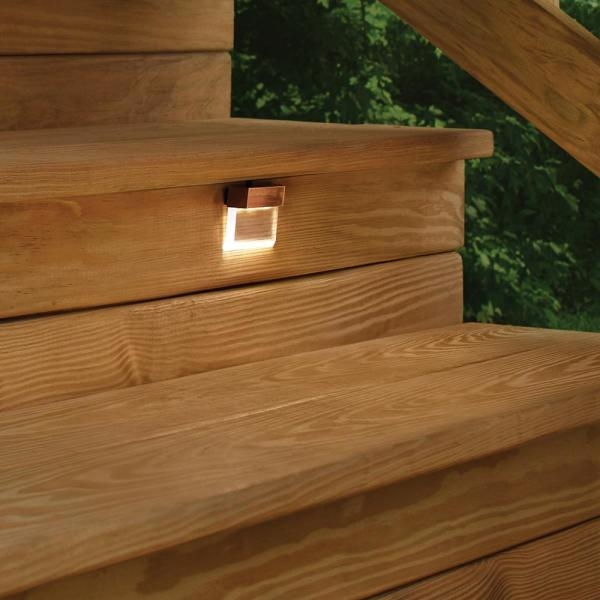 Hampton Bay Low Voltage Antique Brass Outdoor Integrated Led | Outdoor Wood Steps Home Depot | Treated Wood | Handrail | Spiral Staircase | Staircase | Concrete Steps