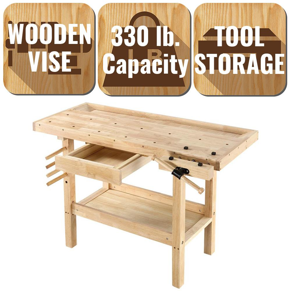Olympia 4 Ft X 2 Ft 330 Lbs Hardwood Workbench With