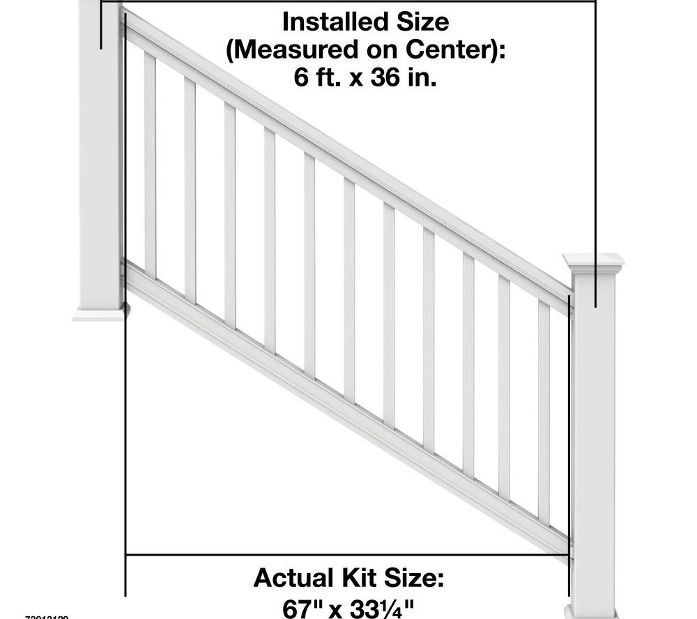 Veranda Pro Rail 6 Ft X 36 In White Polycomposite Stair Rail Kit   Veranda Traditional Stair Railing   Porch Deck   Composite   Porch Railing   Angle Bracket Kit   Composite Decking