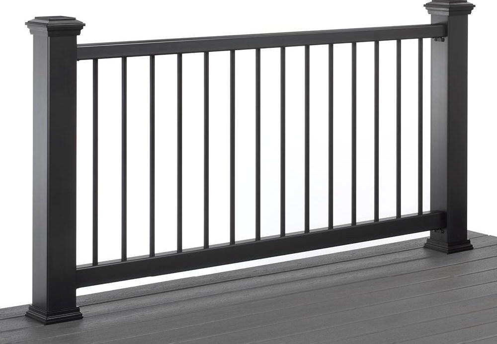 Trex 6 Ft X 36 In Black Enhance Rail And Round Aluminum Baluster | Black Horizontal Stair Railing | Room | Split Entry | Steel | Modern | Metal