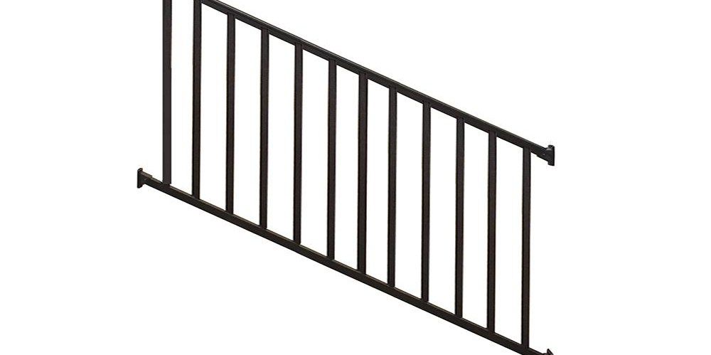 Weatherables Stanford 36 In H X 72 In W Textured Black Aluminum   Home Depot Stair Handrail   Aluminum Stair   Wood   Balusters   Porch Railings   Oak Stair