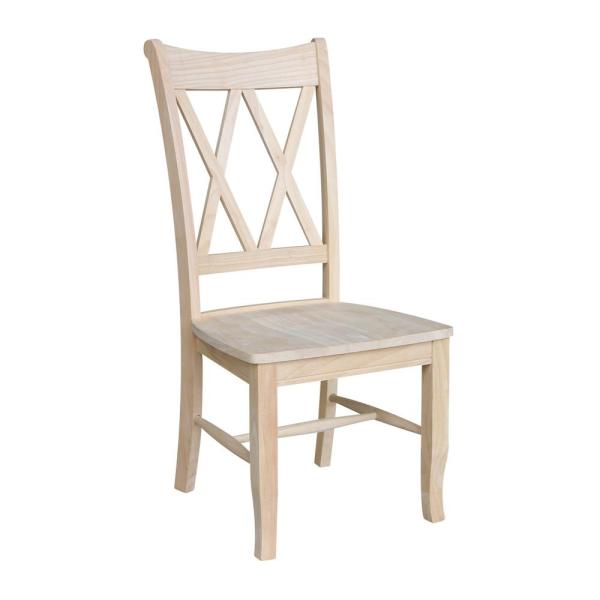 International Concepts Unfinished Wood Double X Back Dining Chair     International Concepts Unfinished Wood Double X Back Dining Chair  Set of 2