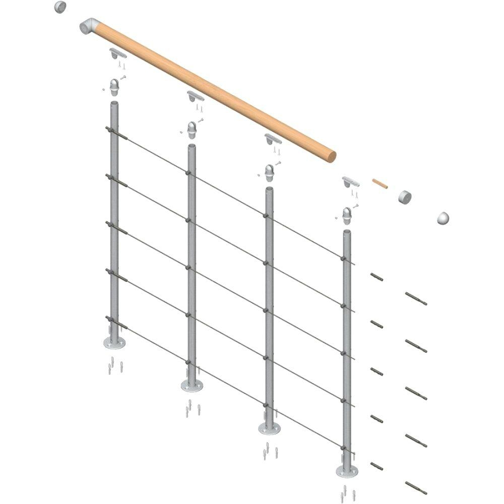 Dolle Rome 42 In Balcony Railing Starter Kit 68370 The Home Depot | Home Depot Hand Railing Interior | Stair Treads | Staircase | Box Newel Post | Railing Systems | Iron Railings
