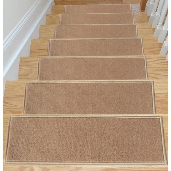 Ottomanson Dark Beige 8 5 In X 26 6 In Non Slip Rubber Back | Outdoor Rubber Stair Treads Home Depot | Riser | Coin Grip | Rubber Cal | Stair Mats | Recycled Rubber