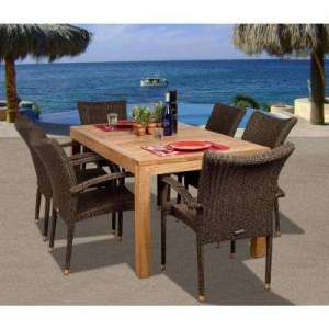 Wood Patio Furniture   Patio Dining Furniture   Patio Furniture     Brussels 7 Piece Teak All Weather Wicker Patio Dining Set