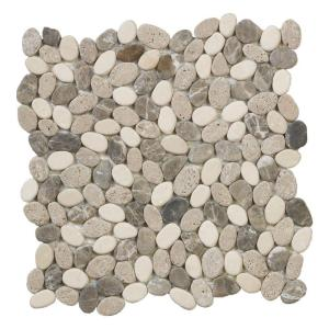 Solistone River Rock Brookstone 12 in  x 12 in  x 12 7 mm Natural     Emperador River Rocks 11 5 in  x 11 5 in  x 10 mm Marble Mosaic Floor