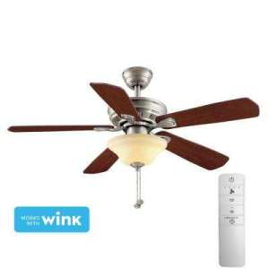 Rosewood   Quick Install   Ceiling Fans With Lights   Ceiling Fans     LED Brushed Nickel Smart Ceiling Fan with Light Kit and WINK Remote