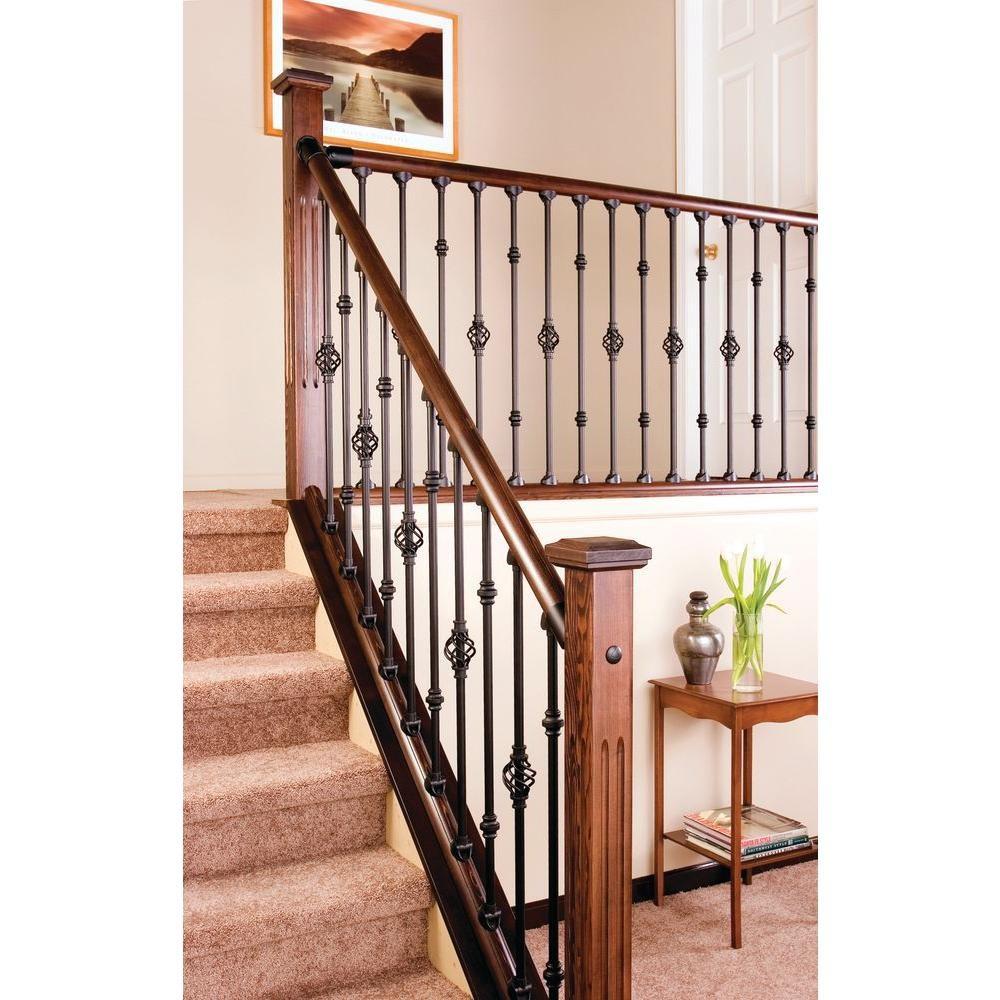 Stair Simple Baluster Basket Al9310B00W The Home Depot | Indoor Stair Railings Home Depot | Metal | Interior | Deck Stair | Aluminum Railing | Iron Stair