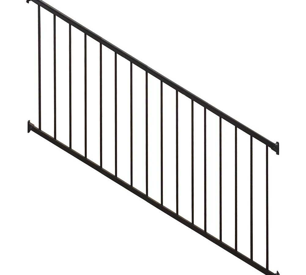 Weatherables Stanford 36 In H X 96 In W Textured Black Aluminum | Outdoor Stair Railings Near Me | Porch Railings | Front Porch | Composite | Metal Stair | Stair Treads