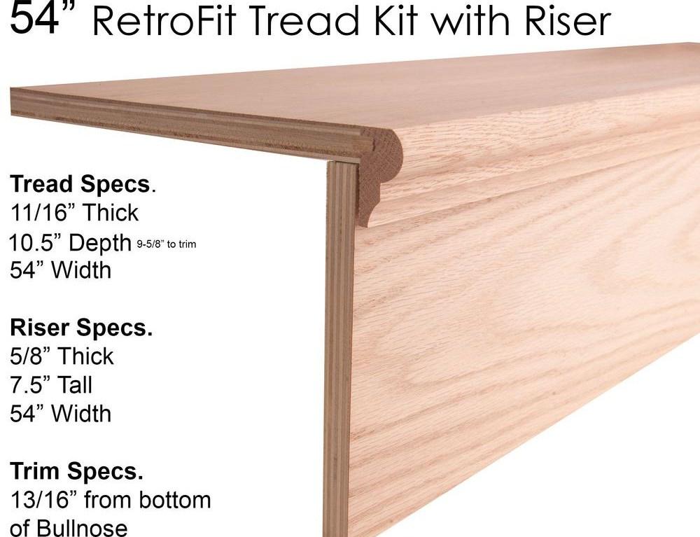 House Of Forgings 54 In Retrofit Tread Kit With Riser 1 5 In X | Modern Stair Treads And Risers | Hardwood | Non Slip | Riser Short Stringer | Cap | Luxury Vinyl Stair