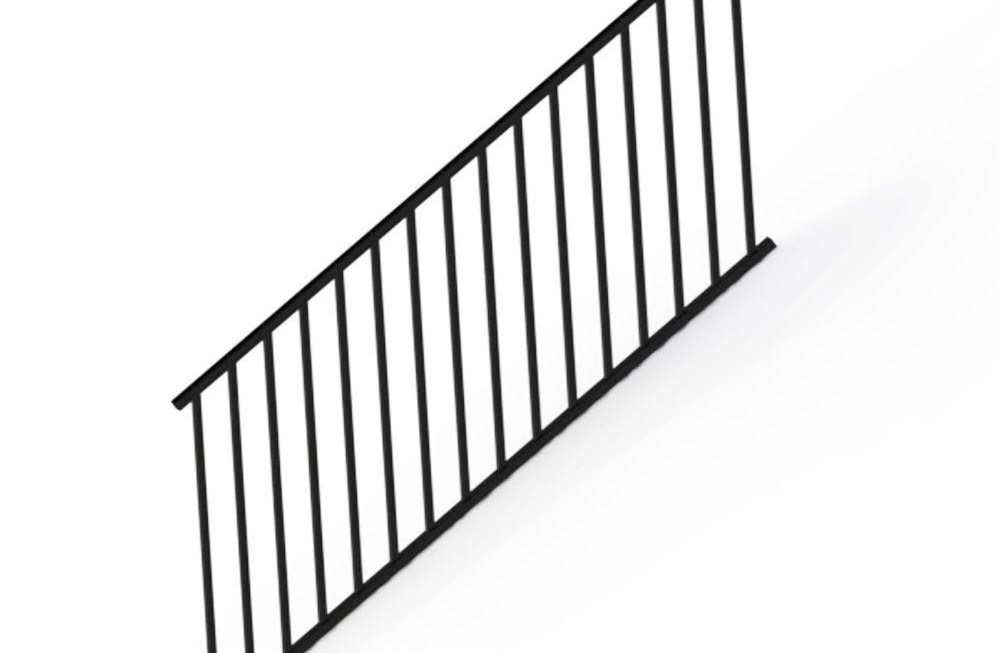 Rdi Satin Black 36 In Aluminum Stair Panel Rail Kit With Square | Iron Stair Railing Home Depot | Aluminum Stair | Interior | Rail Kit | Deck Stair | Aluminum Railing