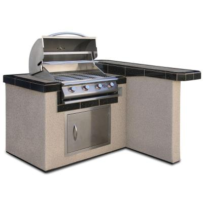 Cal Flame 4 ft. Stucco Grill Island with 4-Burner ...