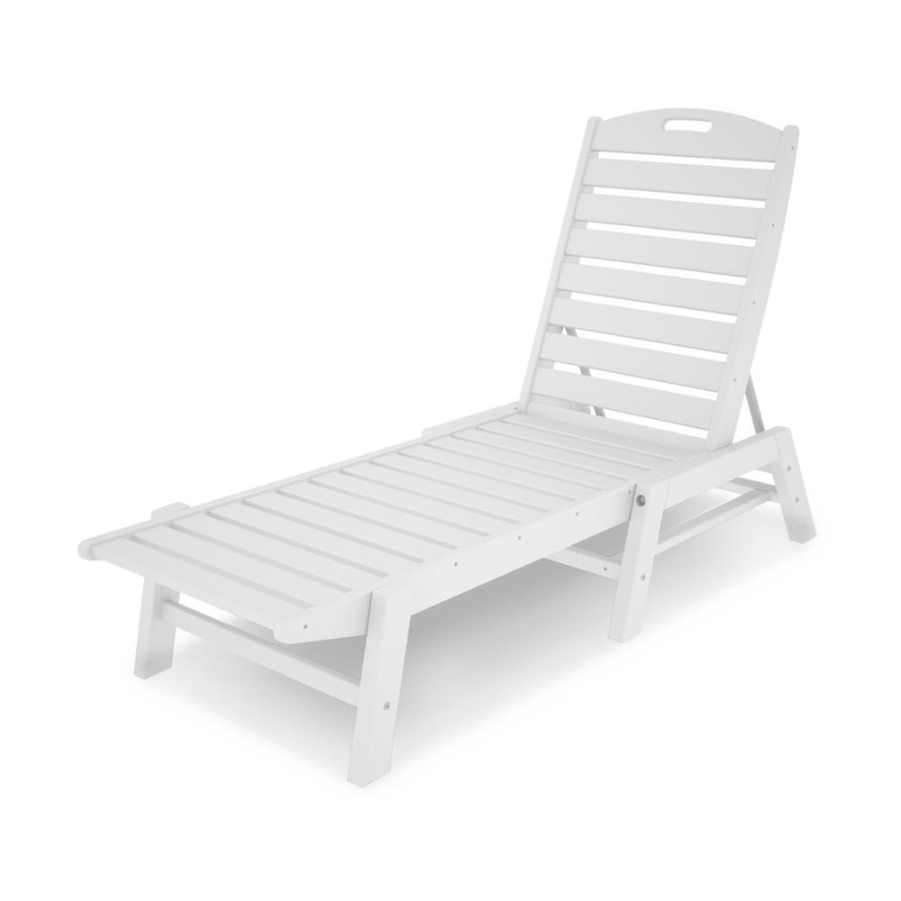 Polywood Patio Chaise Lounge In Nautical White Nac2280wh