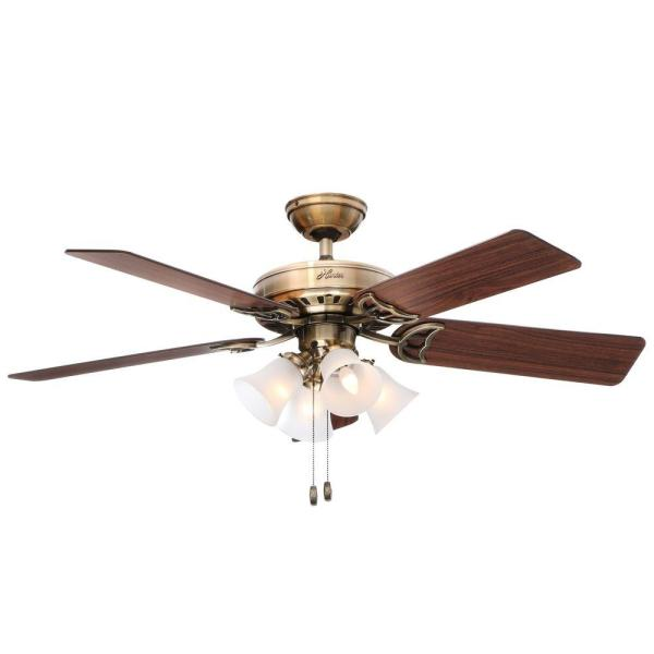 Hunter Studio Series 52 in  Indoor Antique Brass Ceiling Fan with     Hunter Studio Series 52 in  Indoor Antique Brass Ceiling Fan with Light Kit