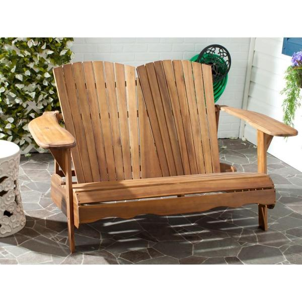 Safavieh Hantom Natural Acacia Patio Bench PAT6702C   The Home Depot Safavieh Hantom Natural Acacia Patio Bench