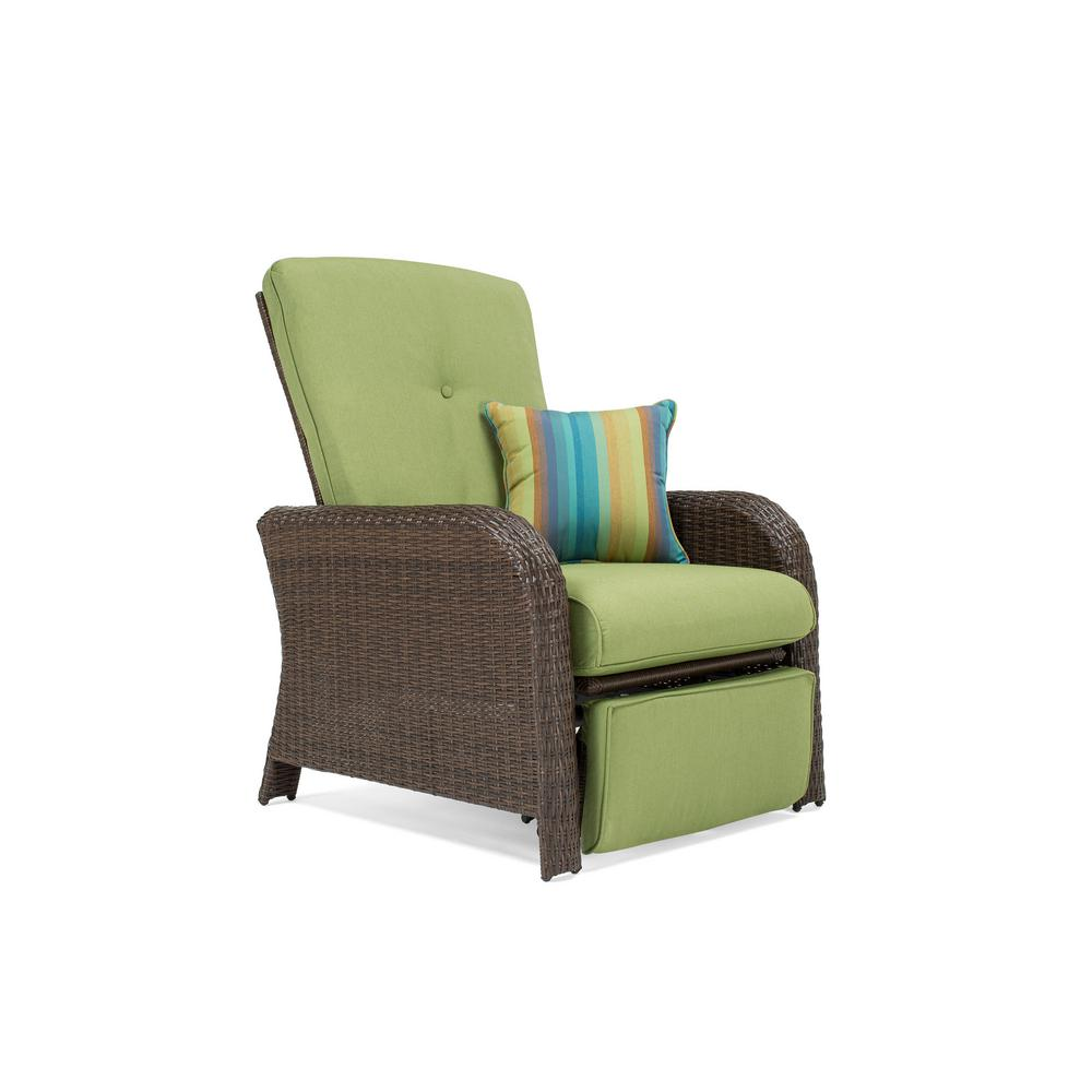 La Z Boy   Patio Furniture   Outdoors   The Home Depot Sawyer Wicker Outdoor Recliner with Sunbrella Spectrum Cilantro Cushion