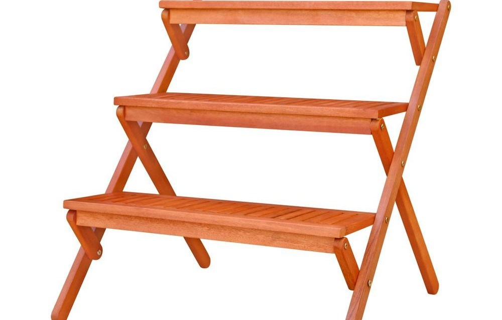 Vifah 3 Tiered Outdoor Wood Plant Stand V499 The Home Depot | Outdoor Wood Steps Home Depot | Treated Wood | Handrail | Spiral Staircase | Staircase | Concrete Steps